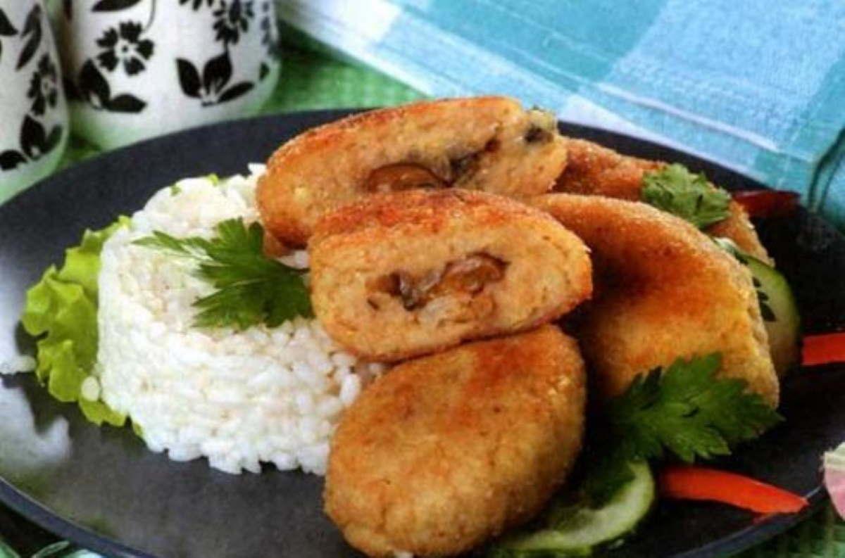 рыбные зразы с грибами