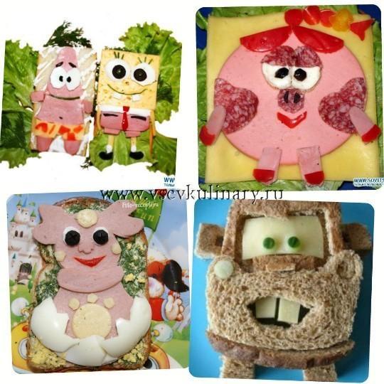 детские бутерброды с героями мультиков